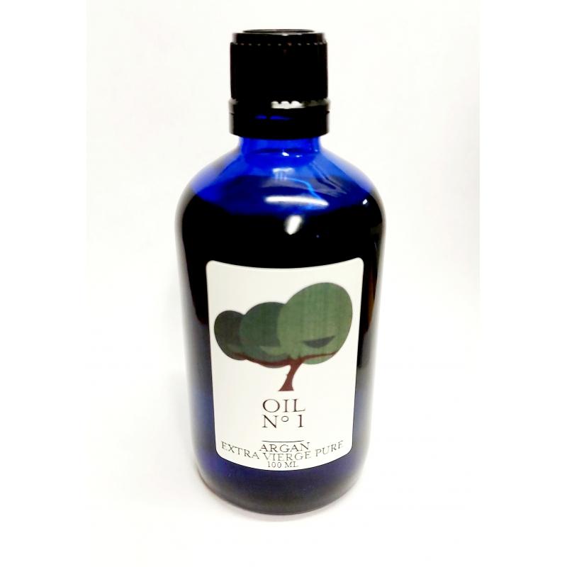 organic fair trade argan oil premium. Supporting women cooperatives UCFA Morocco. 100ml. Dark Blue glass bottle