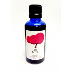 Organic argan oil infused with rosa damascena.  Dark glass blue bottle. 50ml