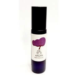organic argan oil and patchouli, Roller bottle glass purple. Refilable