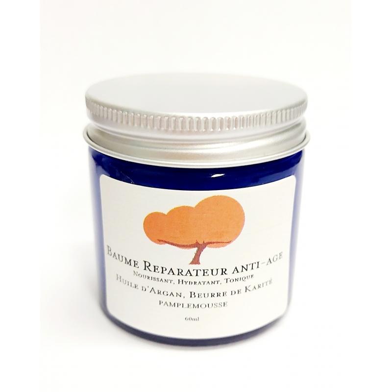 Huile d'argan, beurre de karité, infusion huiles essentielles de pamplemousse. Soin anti age, réparateur, rehydratant.