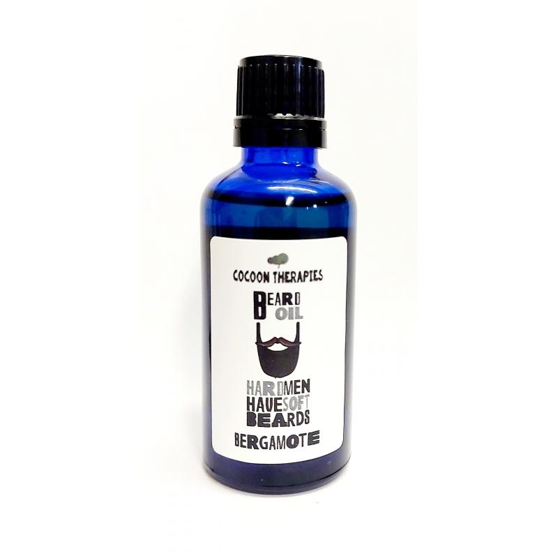 beard oil. Organic argan oil infrused with bergamote essential oil. 50ml blue glass bottle
