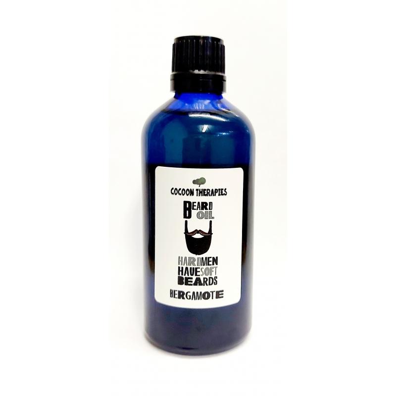 beard oil. Organic argan oil infrused with bergamote essential oil. 100ml blue glass bottle